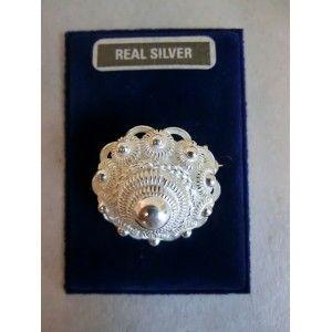 Zilver broche 1-knops