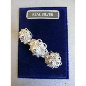 Zilver broche 3-knops