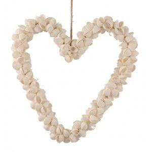 Schelpen decoratie hart wit 25 cm