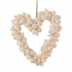 Schelpen decoratie hart wit 15 cm