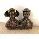Zeeuwse Set beeldjes mini op blok brons